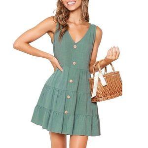 Sleeveless V Neck Button Down Swing Short Dress